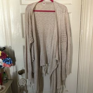 Long Sleeve Open Front Fringe Cardigan